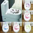 Flower Toilet Seat Wall Sticker Bathroom Decoration Decals Decor Butterfly  FO