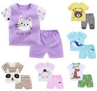 2pcs baby toddler Kids boys girls summer cotton outfits top+ short pants cartoon