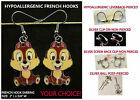Chipmunk Earrings Charm *OPTIONS* Chipmunk Hypoallergenic Pierced OR Clip On