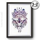 Geometric Wolf Wall Art Print Aztec Home Decor Native American Galaxy Poster
