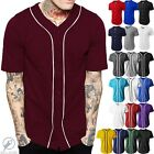 Mens Baseball Jersey Raglan Plain T Shirt Team Stripe Solid Button Tee Active