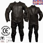Mens Motorcycle Motorbike CE Approved Armour Black Leather Biker Racing Suits
