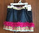 Osh Kosh denim skirt Embellished with multi colored chevron fabric sizes 5,6,8