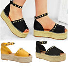 Ladies Womens Flat Wedge Flatform Studded Ankle Strap Espadrille Sandals Size