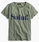 """J. CREW """"SALUT!"""" CHEERS GRAPHIC VINTAGE TEE T-SHIRT GREEN G4891 SIZE XS S M L XL"""