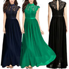 Women Lace Hollow Long Maxi Dress Cocktail Evening Wedding Party Formal Dresses