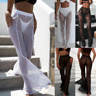 UK Womens Beach Mesh Sheer Wide Leg Pants Ladies Bikini Cover Up Flared Trousers