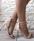 Ladies Womens High Heel Stiletto Lace Up Ankle Cuff Peep Toe Sandals Shoes Size
