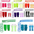 NEON FISHNET GLOVES LEGWARMERS BEADS NECKLACE BANGLES 1980S 80S KIT FOR TUTU