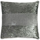 """Diamante Crushed Velvet Diamond Cushions and Covers 17"""" (43cm), Silver Grey"""