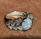 fire opal topaz ring Sz 6.25 gemstone silver jewelry engagement wedding band H3