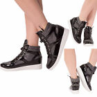 WOMEN'S SEXY HIGH TOP TRAINERS Wedge Heel Lace Up Silver Mesh Black Boots UK 3-4