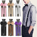 Внешний вид - Suspenders Men's clip-on Y back and Bow Tie Retro Steampunk Costume Tux Prom