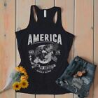 Women's Patriotic Home Of Free Because Brave Flowy Tank Eagle America 4th July