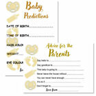 8 PACK - GOLD BABY SHOWER PREDICTIONS ADVICE CARDS MUM TO BE WORDS OF WISDOM