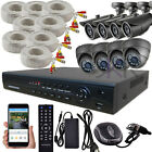 Sikker 16 Channel DVR 8 pcs Megapixel Color Camera Security System 720P 1080P