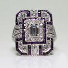 Amethyst Silver Wedding Engagement Ring Art Deco Women Jewelry Gift Size 6-10
