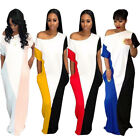 Women short sleeves casual big loose style patchwork long dress
