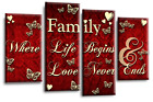 Family Quote Powder Grey Silver Black White Canvas Picture Wall Art 4Panel Split