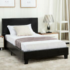 TWIN FULL QUEEN Size Platform Bed Frame Upholstered Linen Headboard Wood Slats