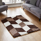 BOX DESIGN MODERN 5CM THICK BROWN CREAM SHAGGY HIGH QUALITY COSY SHAGGY RUG SALE