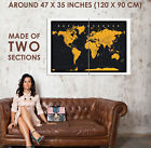 88380 World Map In Black & Gold Cork Pin With Pins Decor WALL PRINT POSTER UK