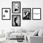 Set of 5 wall ART PRINT of ORIGINAL Fashion PHOTO & Painting with QUOTE picture