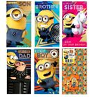 DESPICABLE ME MINIONS Birthday Cards ~ Son Sister Brother Dad Boy + Gift Wrap