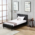 Twin/Full/Queen PU Leather Button Tufted Upholstered Platform Metal Bed Frame