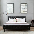 Twin/Full/Queen Metal Bed Frame PU Leather Button Tufted Upholstered Platform