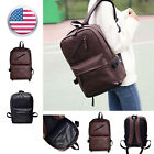 Men Retro Vintage Leather Backpack Rucksack Travel Sports School Hiking Bag 13