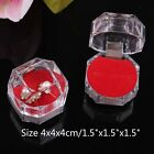 10 or 20 Crystal Clear Ring Box Jewelry Gift Boxes Case Tray Red Inside