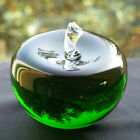 Teacher's Green Glass Crystal Apple Paperweight with Free Engraving (optional)