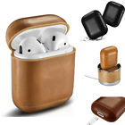 ICARER Genuine Leather Headset Case Protect Bag Cover for Apple AirPods Charging