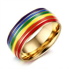 8mm Rainbow Woman Men Gay Lesbian Men Pride Ring Stainless Steel Enamel Jewelry