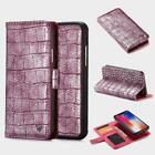 Vintage Crocodile Pattern Zipper Wallet Flip Case Card Slots Cover for iPhone X