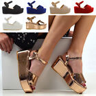 Womens Platform Wedge Heel Sandals Ladies Ankle Strap Peep Toe Shoes Size 3-8