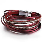 New Trendy Women Multilayer Leather Magnet Wrap Cuff Charm Bracelet Jewelry Gift