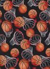 Basket Ball Fabric 100% Cotton Black Timeless Treasures BTY BTHY