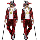 New Mens 70s Gangster Adult Big Daddy With Dollar Medallion Fancy Dress Costume