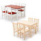 5 Piece Pine Wood Dining Table and Chairs Dining Table Set Kitchen Furniture