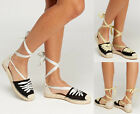 Ladies Womens Flat Wedge Lace Up Low Heel Espadrille Sandals Pumps Shoes Size