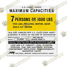 Pro Line Capacity Plate Decals Boat Maximum Occupancy [Multiple Variations]
