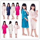 Kid Silk Satin Kimono Robes Bathrobe Sleepwear Wedding Flower Girl Night Dress.