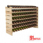 20 36 72 91 Bottle Solid Wood Wine Rack Holder Stackable Storage Display Shelves