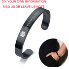 epilepsy color - Men Black Color Medical Alert ID Name Bracelet Bangle Cuff Custom Free Engraving