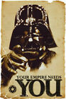 STAR WARS YOUR EMPIRE NEEDS YOU DARTH VADER Art Silk Poster 8x12 24x36 24x43 $2.88 USD on eBay