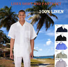 New Men's 2pc Luxury Linen Solid Color Short Sleeve Casual Walking Suit Set 2806