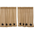 Natural Burlap W/Black Stars Cotton Country Window Cafe Tiers (2) Sizes
