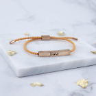 Personalised Engraved Jewellery Rope Bracelet - Gold Silver Rose Gold - Giftbox